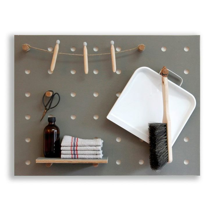 Scandinavian style grey peg board -perfectfor organising your home, in your home office, hallway, kitchen or utility room. Made by hand from sustainably sourced birch plywood, this modern design classic is stylish and practical. #christmasgifts #handmade #scandinavian #furniture #organised