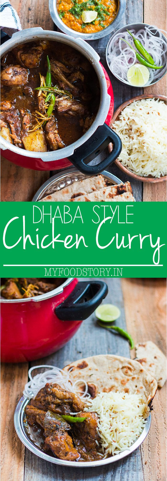 The best north indian chicken curry recipe, inspired by roadside dhabas in India which are famous for their home style cooking. Made with ground spices, onions and tomatoes and cooked slowly for a really hot, spicy curry. Can be made in an electric pressure cooker or Instant Pot if you are in a hurry. via @my_foodstory