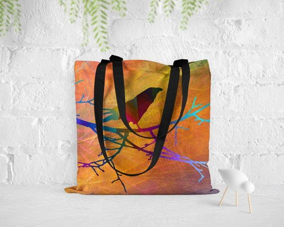 Bird tote bag, Lightweight Shopping bag, Quality tote bag, Art tote bag, Nature lover gift, Unique totes for women, BTap069