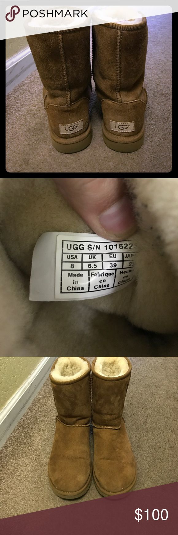 Short chestnut uggs Worn only a few times. Short chestnut size 8 uggs UGG Shoes Winter & Rain Boots