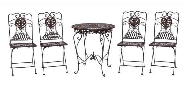Gartentisch Und 4 Stuhle Eisen Bistromobel Antik Stil Tisch Gartenmobel Braun Gartenmobel Gartentisch Stuhle