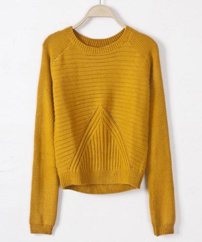 *Casual Style Scoop Collar Solid Color Cotton Knited Long Sleeve Women's SweaterSweaters & Cardigans | RoseGal.com