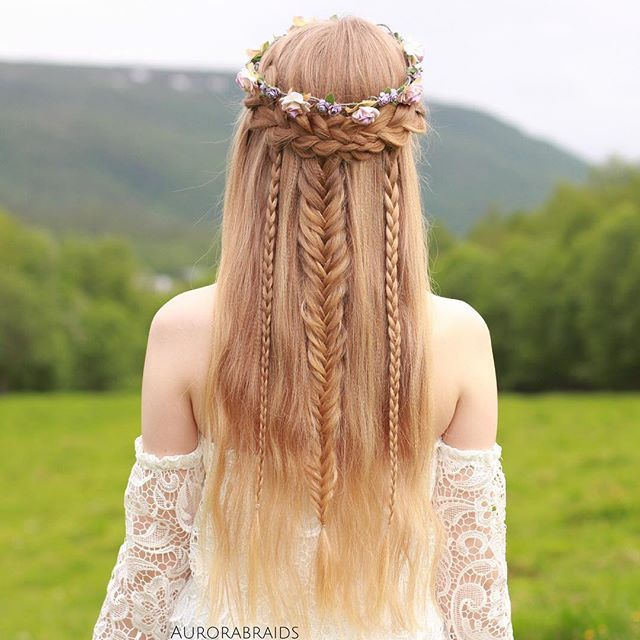 LOVE THIS SO MUCH! Elven Princess Hairstyle. In Love with these Mixed Half-Up Braids                                                                                                                                                                                 More