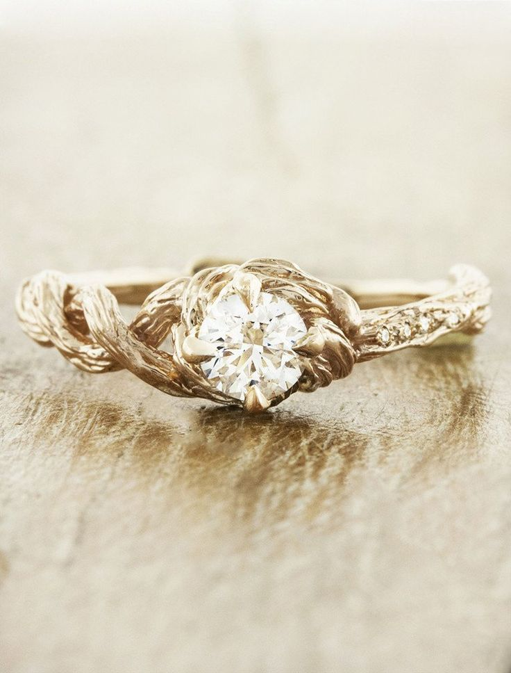 The Nicole engagement ring - inspired by the bark of a beautiful Sequoia tree.