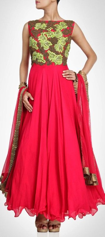 406776: PARTY WEAR FOR WOMEN - flat 20% off  #anarkali #red #floral #embroidery #ChristmasSale Net, Stone, Bugle Beads, #Sequence