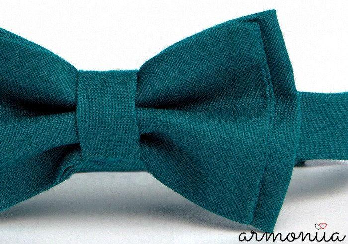 Teal Bow Tie Beige / Tan Suspenders Bow Tie by armoniia on Etsy