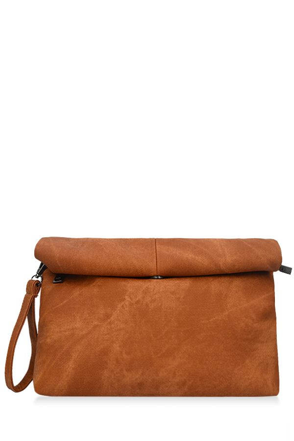 Solid Color Hemming Denim Clutch Bag - BROWN