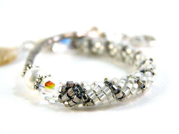 Spiral Bracelet  Beadweaving  Swarovski Crystal by knitbeadlove