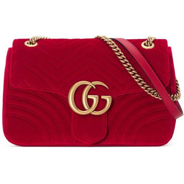 Gucci Gg Marmont Velvet Shoulder Bag ($1,770) ❤ liked on Polyvore featuring bags, handbags, shoulder bags, red, women, gucci handbags, gucci shoulder bag, pocket purse, chain strap purse and velvet handbags