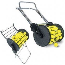 Why hop when you can mow.  Inspired by the old manual lawn mower, this ball hopper makes picking up #tennis balls a fun activity onto itself.  A piece of #equipment coaches should consider as it doubles as a standalone cart for teaching.