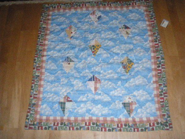 Flying kites baby quilt
