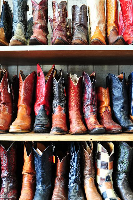 Check out this great boot wall! #CowboyBoots #CowgirlBoots #WesternStyle