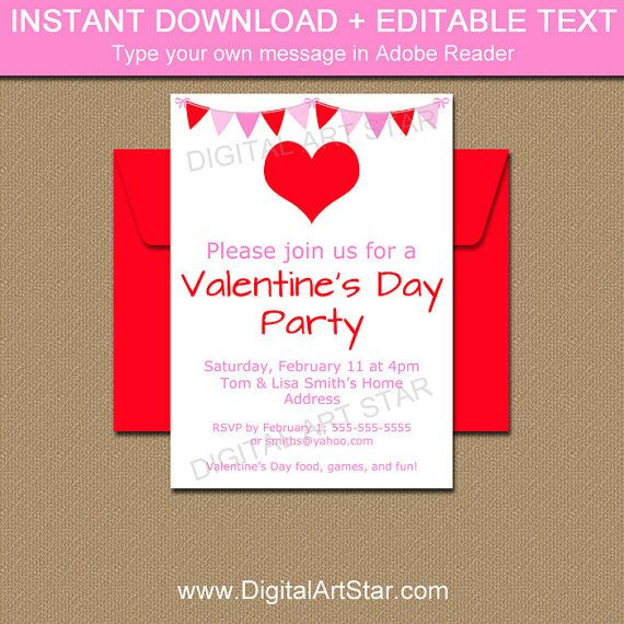 9 best Valentines Day Invitations images on Pinterest Printable - valentines day invitations