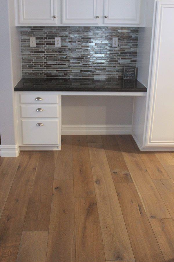 Built in desk with the matching back splash and Hallmark Floors Alta Vista Collection: Del Mar. Engineered Hardwood Flooring by Hallmark Floors