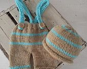Newborn Baby Beige and Turquoise Striped Roll brim hat and Pants set  0-3 months, made to order