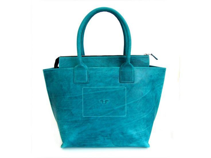 Tote Bag big z kůže pull-up, odstín turchese - zapínání na zip