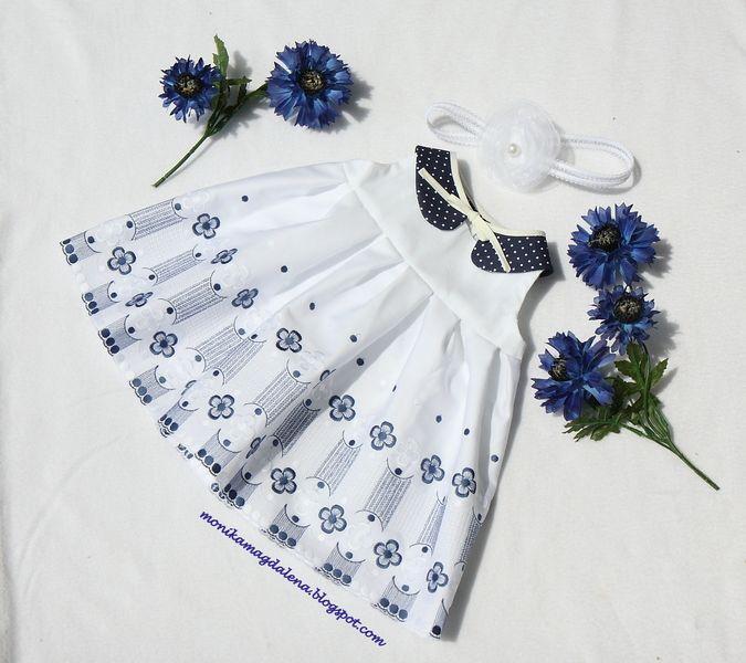 Sukienka dziecięca z chabrowym haftem r. 62-68 w Monika Magdalena  na DaWanda.com