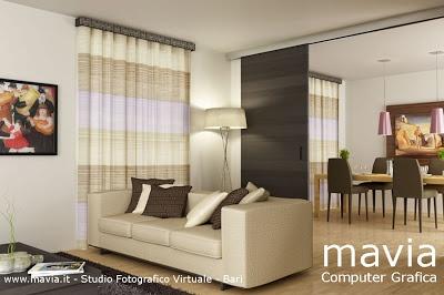 Interni 3d,rendering Tende e Tendaggi soggiorno sala da pranzo moderno