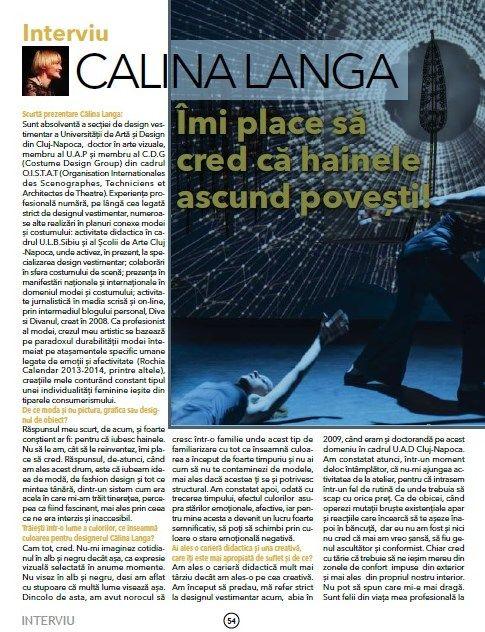 Un interviu cu Călina Langa în Business Texin, despre credințe și pasiuni.