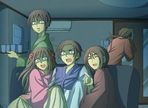 The Asian Nations! Hetalia Hong Kong's face... I feel like he and I would get along VERY well! They must be watching... Hmm.. Let's say the Orphan. Or maybe a play through of Slender the Arrival. Very fun. Not scary once you watch it a couple times!