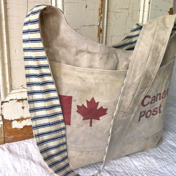 CANADA POST  reconstructed vintage canadian mail sling by yahbag, $260.00