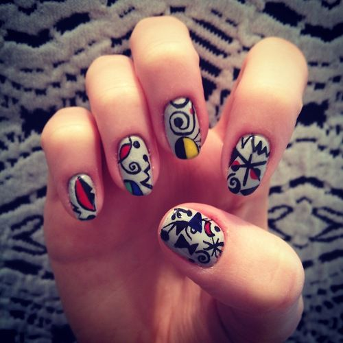hotboylenails: Joan Miro inspired mani Deborah Lippmann:...