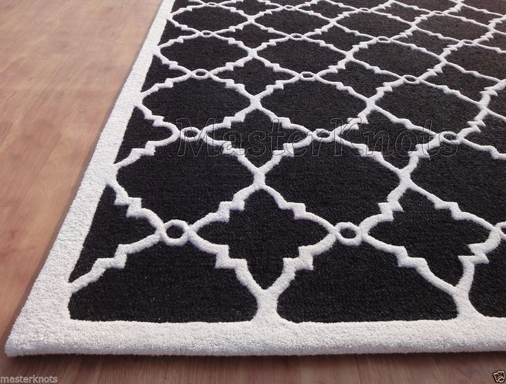 Brand New Lattice Trellis Black White 5x8 ~ 8x5 Handmade Woolen Area Rug  Carpet #Contemporary