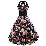 Women's Party / Evening Athletic Street chic Sophisticated Dress,Florals V-neck Knee-length Sleeveless Summer High Rise 2018 - $12.86