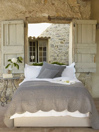 A rustic & romantic guest room.  This white and gray is pretty.