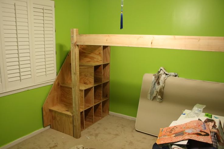 diy loft bed kids- no plans, but I like the cubes under the stairs ...