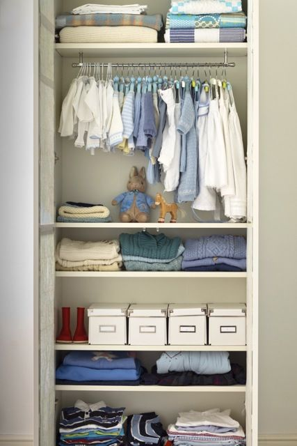 Nursery Wardrobe made from an Ikea Billy boolcase, great idea!