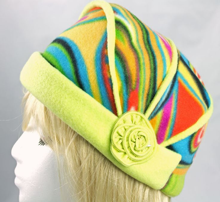 Fleece Hat for Women and Girls | Cloche Flapper Hat in Fun Rainbow Sherbet Colors with Lime Green Brim | Packable Warm Chemo Hat | Funky Beanie Psychedelic Colors