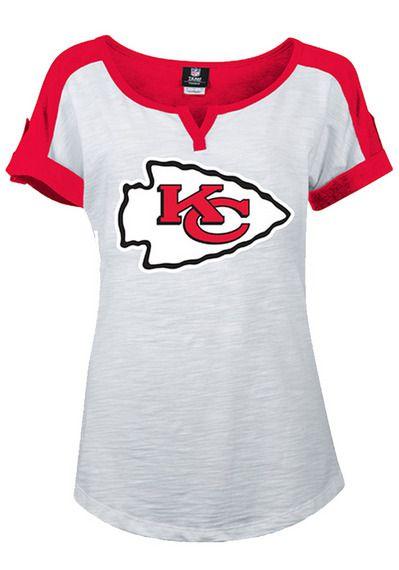Kansas City Chiefs T-Shirt - White Chiefs V-Notch Scoop Short Sleeve Tee http://www.rallyhouse.com/shop/kansas-city-chiefs-5th-and-ocean-88880077 $34.99