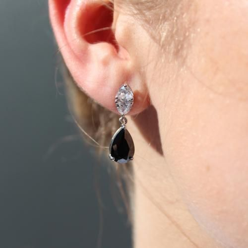 Secrets Shhh Sterling Silver Cushion Trilliant Cut and Pear Cut Drop Earrings - Black Colour. 7.5ct equivalent total per pair. Measures approx 2.5cm in length