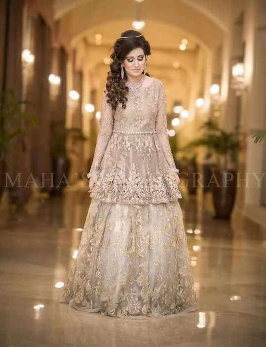 0fffbb7408 Pakistani off-white short frock with lehenga for wedding brides ...