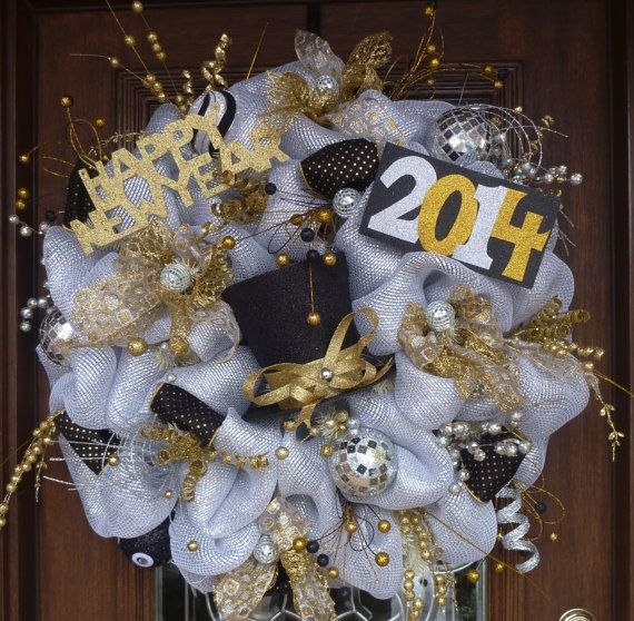 30 Deluxe Deco Mesh NEW YEAR'S WREATH by decoglitz on Etsy