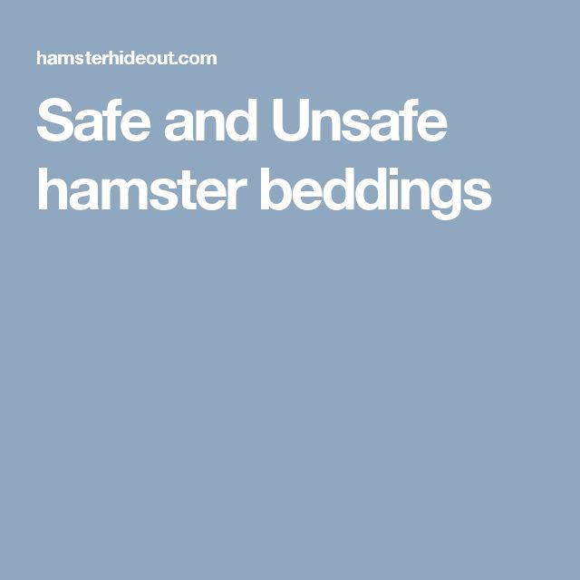 Safe and Unsafe hamster beddings
