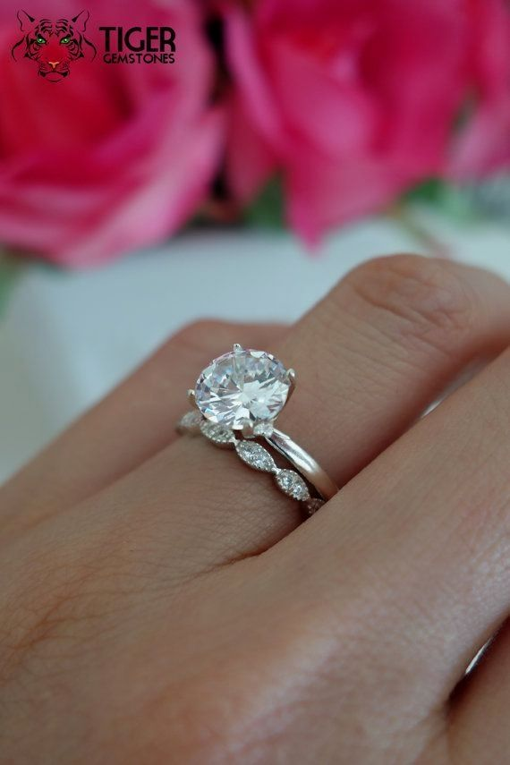Sale 2 carat art deco round solitaire wedding by for Art craft engagement rings