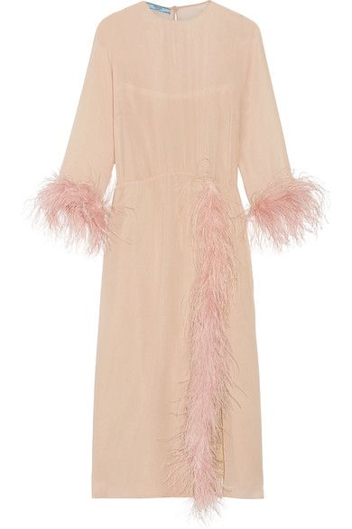 Prada - Feather-trimmed Silk-georgette Midi Dress - Blush - IT