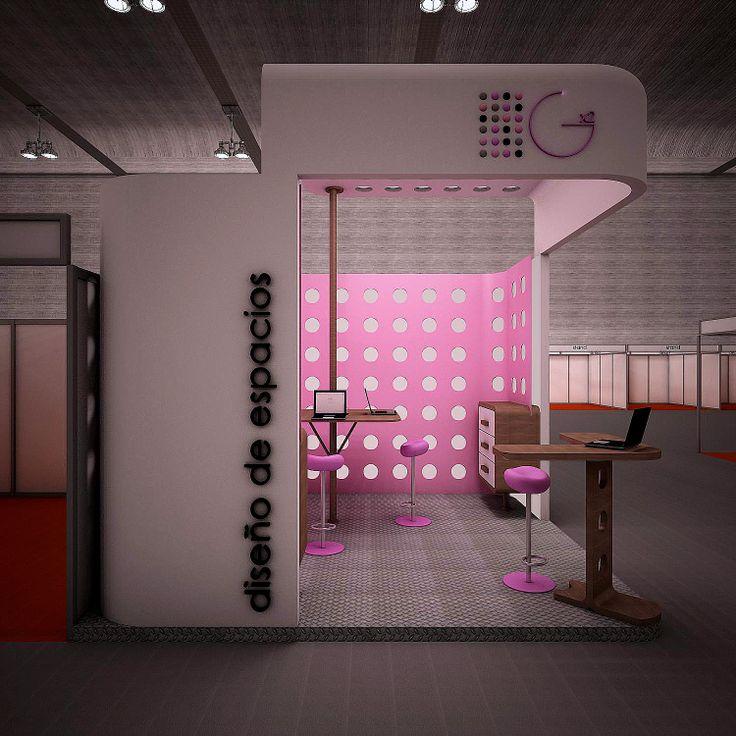 Proyecto de stand abierto con semitecho, muebles para catálogos, zona de atención rápida y zona de atención personalizada
