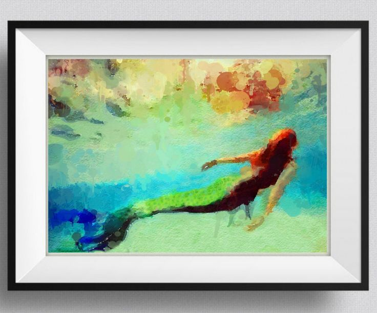 Mermaid  Print,Painting, home Decor,Gift for her, Mermaid summer party,Girl,Sister, Wall Art. Pic  No 116 by HopSkipPaint on Etsy https://www.etsy.com/uk/listing/257186748/mermaid-printpainting-home-decorgift-for