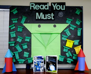 Great bulletin board idea to promote Star Wars program and reading