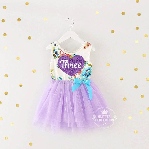 Third birthday three year old baby girls tutu dress party