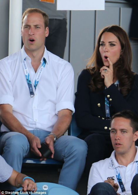The Duke and Duchess of Cambridge   watching the women's hockey game between Wales and Scotland as they attend the 2014 Commonwealth Games in Glasgow