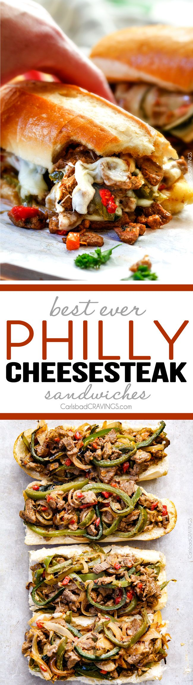 #ad these crazy tender, flavorful Philly Cheesesteak Sandwiches are the BEST EVER! The incredible marinated steak and spiced mayo set these worlds above other recipes I've tried. You seriously haven't tried Philly Cheesesteak Sandwiches until you try these - and so much easier than you think! via @carlsbadcraving: