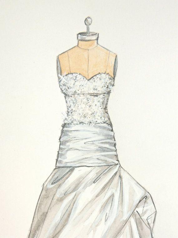 Items Similar To Custom Wedding Dress Illustration Bridal Sketch And Anniversary Gift On Etsy