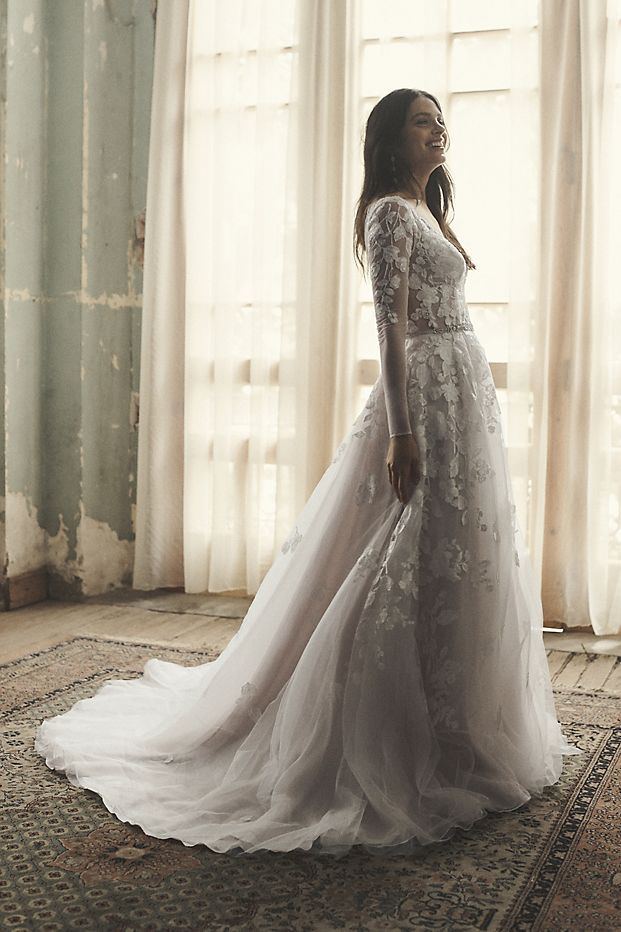 Illusion Sleeve Plunging Ball Gown Wedding Dress David S Bridal Ball Gown Wedding Dress Ball Gowns Wedding Bridal Wedding Dresses