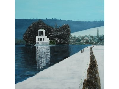 Temple Island - An original unframed oil painting on stretched canvas of Temple Lodge on the River Thames near Henley, Oxfordshire with a light fall of snow. This is quite a large picture. Art from West Country Galleries - Artist: Robert Harris