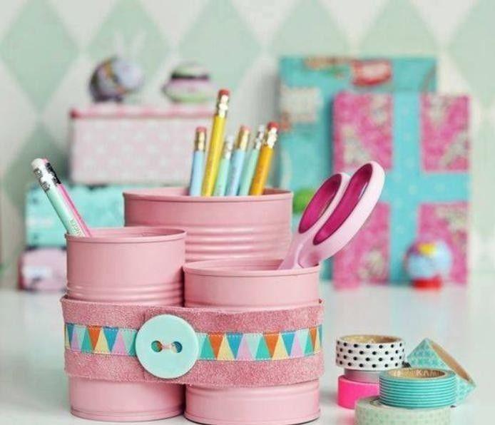 boîte de conserve, boites de rangement roses super décoratives
