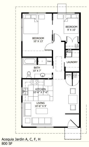800 SF UNIT floor plan